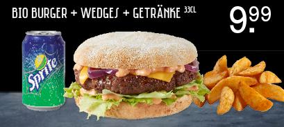 Burger Kitchen + wedges + getränke €8,99